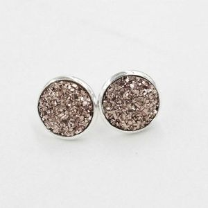 4/$25 Brown Druzy Crystals Silver Plated Earrings